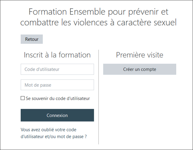 Exemple de l'interface de connexion